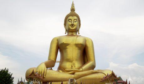 วัดม่วง (พระพุทธรูปที่ใหญ่ที่สุดในโลก) ต.หัวตะพาน อ.วิเศษชัยชาญ อ่างทอง
